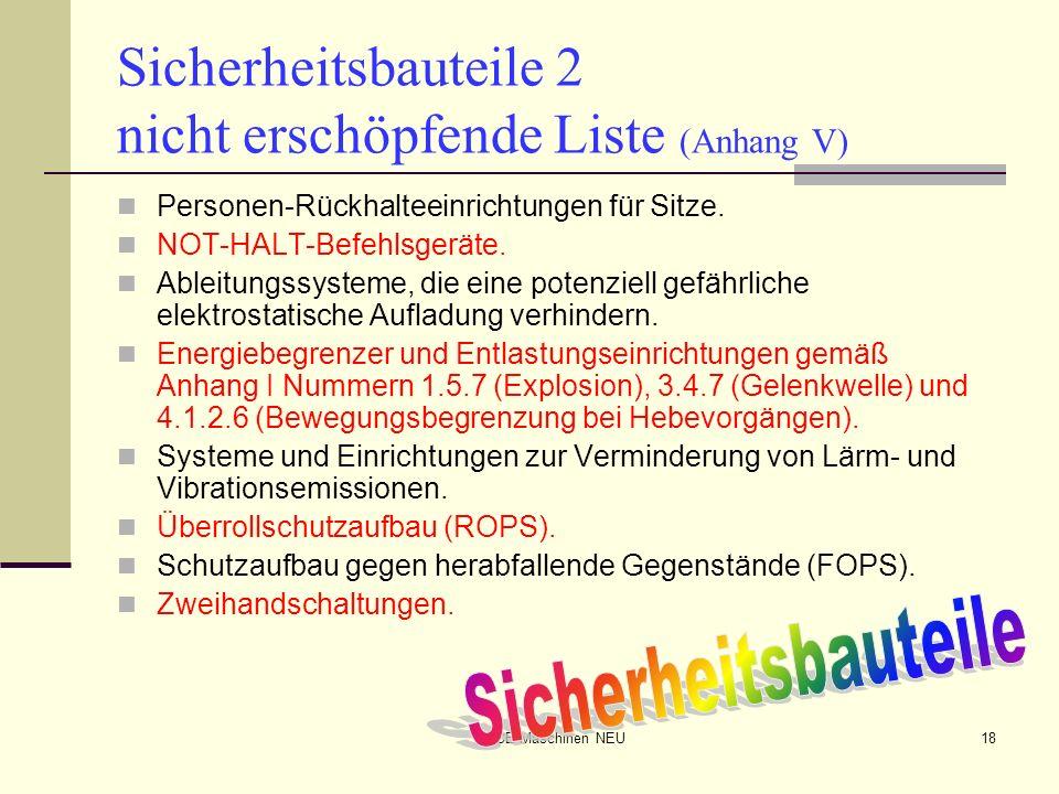 CE-Maschinen NEU18 Sicherheitsbauteile 2 nicht erschöpfende Liste (Anhang V) Personen-Rückhalteeinrichtungen für Sitze. NOT-HALT-Befehlsgeräte. Ableit