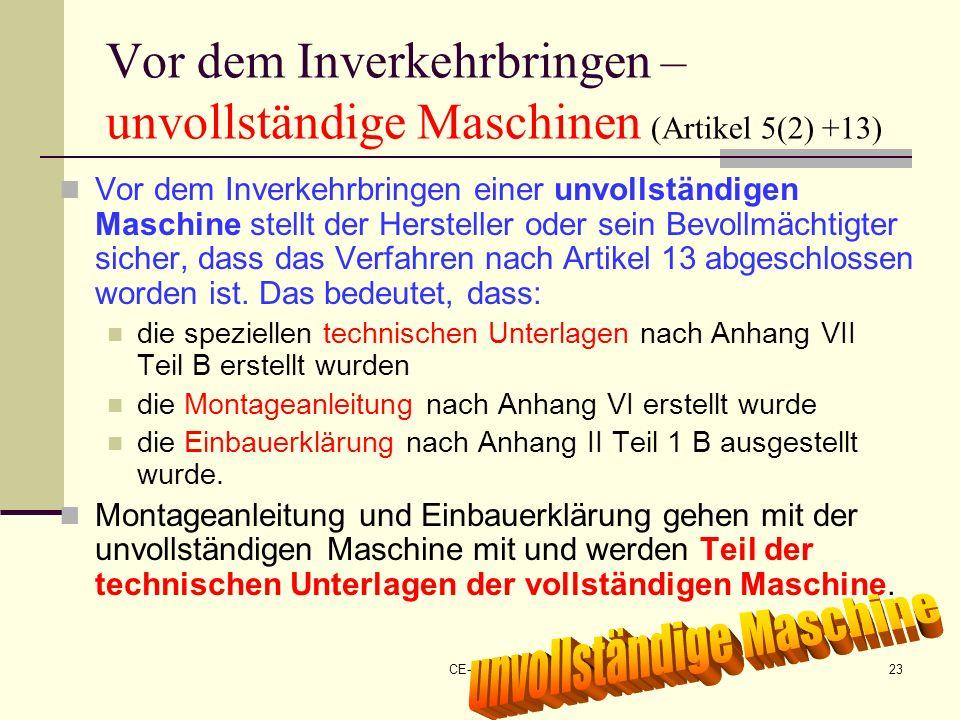 CE-Maschinen NEU23 Vor dem Inverkehrbringen – unvollständige Maschinen (Artikel 5(2) +13) Vor dem Inverkehrbringen einer unvollständigen Maschine stel