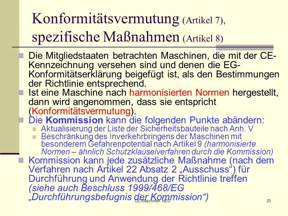 CE-Maschinen NEU25 Konformitätsvermutung (Artikel 7), spezifische Maßnahmen (Artikel 8) Die Mitgliedstaaten betrachten Maschinen, die mit der CE- Kenn