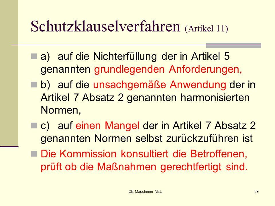 CE-Maschinen NEU29 Schutzklauselverfahren (Artikel 11) a)auf die Nichterfüllung der in Artikel 5 genannten grundlegenden Anforderungen, b)auf die unsa