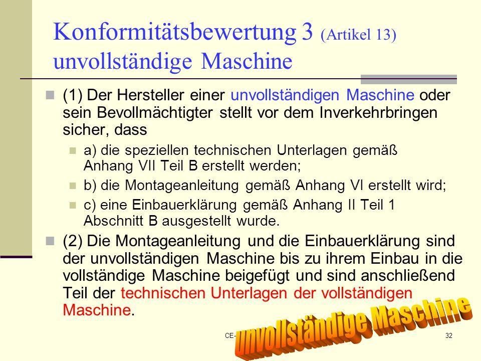 CE-Maschinen NEU32 Konformitätsbewertung 3 (Artikel 13) unvollständige Maschine (1) Der Hersteller einer unvollständigen Maschine oder sein Bevollmäch