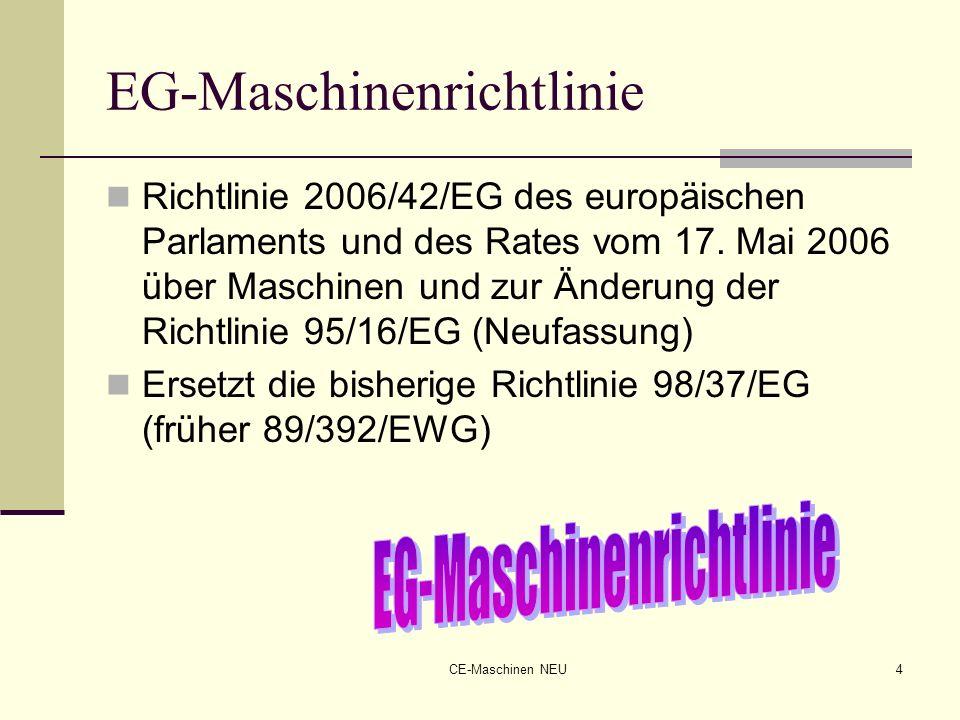 CE-Maschinen NEU4 EG-Maschinenrichtlinie Richtlinie 2006/42/EG des europäischen Parlaments und des Rates vom 17. Mai 2006 über Maschinen und zur Änder