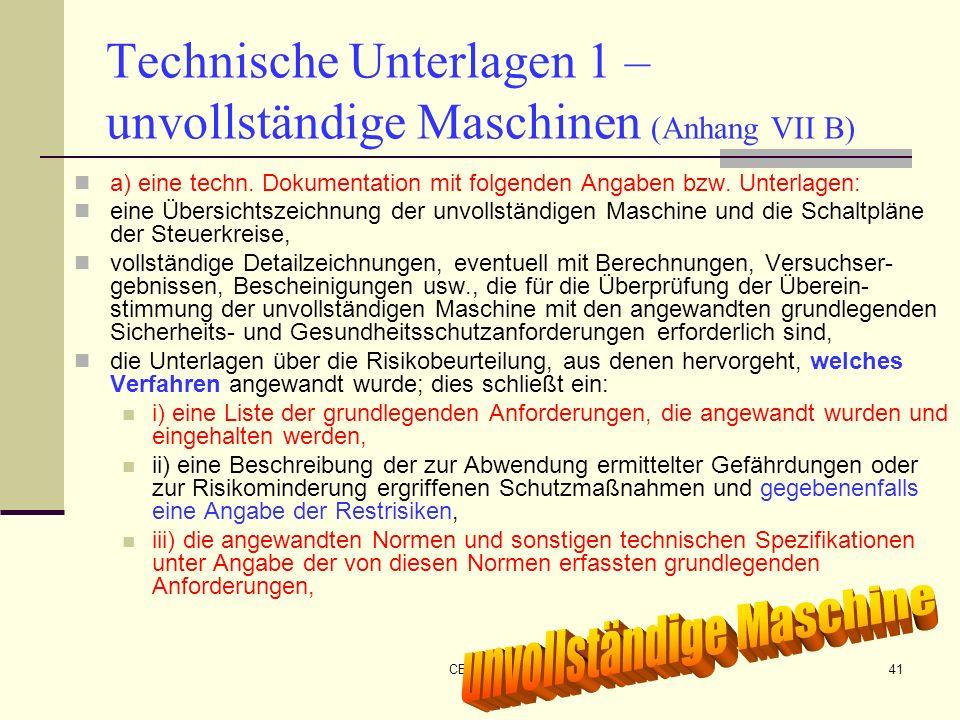 CE-Maschinen NEU41 Technische Unterlagen 1 – unvollständige Maschinen (Anhang VII B) a) eine techn. Dokumentation mit folgenden Angaben bzw. Unterlage