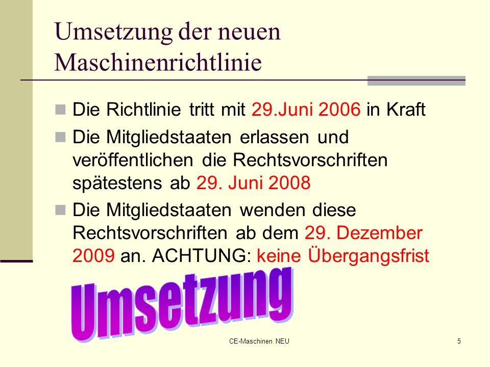 CE-Maschinen NEU5 Umsetzung der neuen Maschinenrichtlinie Die Richtlinie tritt mit 29.Juni 2006 in Kraft Die Mitgliedstaaten erlassen und veröffentlic