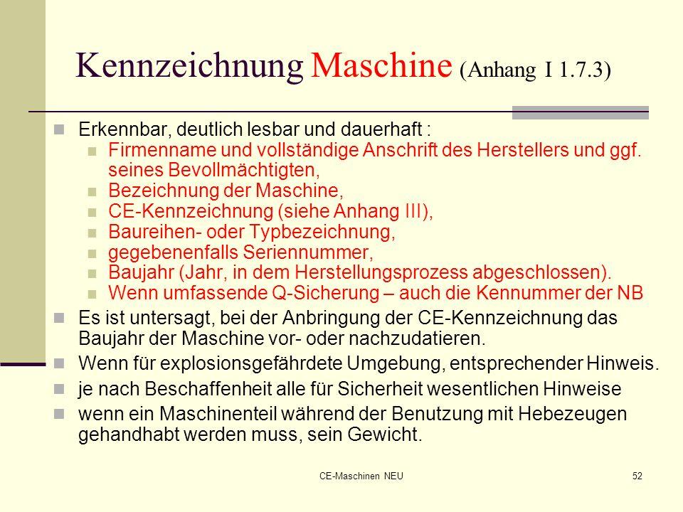 CE-Maschinen NEU52 Kennzeichnung Maschine (Anhang I 1.7.3) Erkennbar, deutlich lesbar und dauerhaft : Firmenname und vollständige Anschrift des Herste