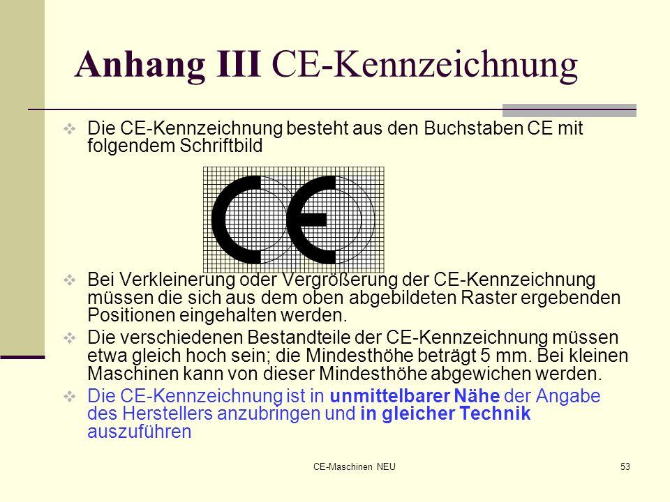 CE-Maschinen NEU53 Anhang III CE-Kennzeichnung Die CE-Kennzeichnung besteht aus den Buchstaben CE mit folgendem Schriftbild Bei Verkleinerung oder Ver