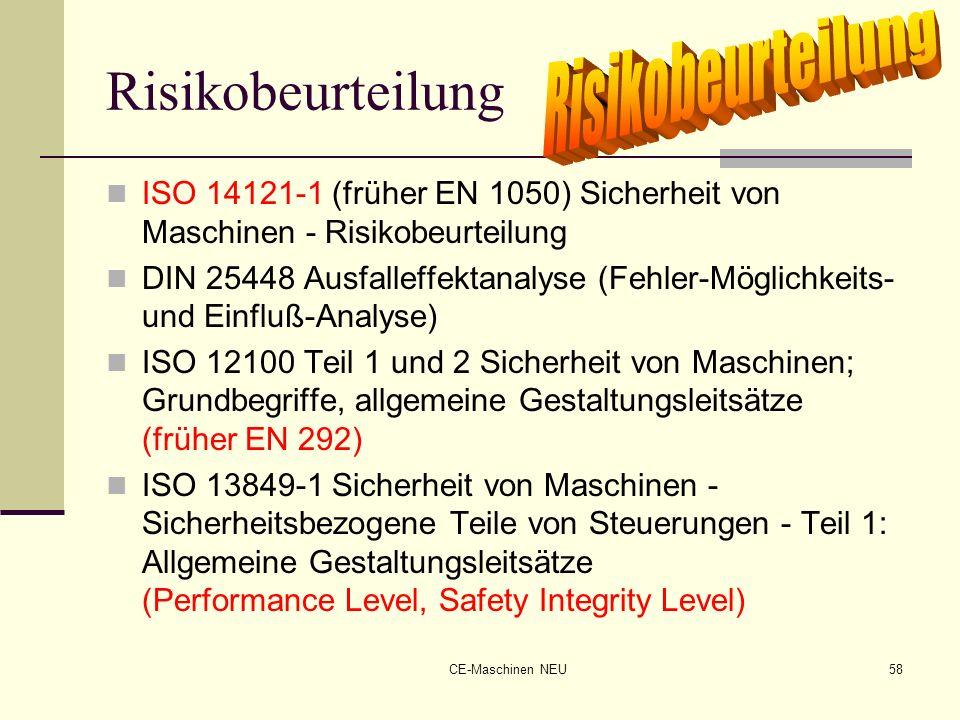 CE-Maschinen NEU58 Risikobeurteilung ISO 14121-1 (früher EN 1050) Sicherheit von Maschinen - Risikobeurteilung DIN 25448 Ausfalleffektanalyse (Fehler-