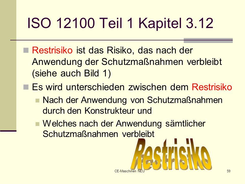 CE-Maschinen NEU59 ISO 12100 Teil 1 Kapitel 3.12 Restrisiko ist das Risiko, das nach der Anwendung der Schutzmaßnahmen verbleibt (siehe auch Bild 1) E
