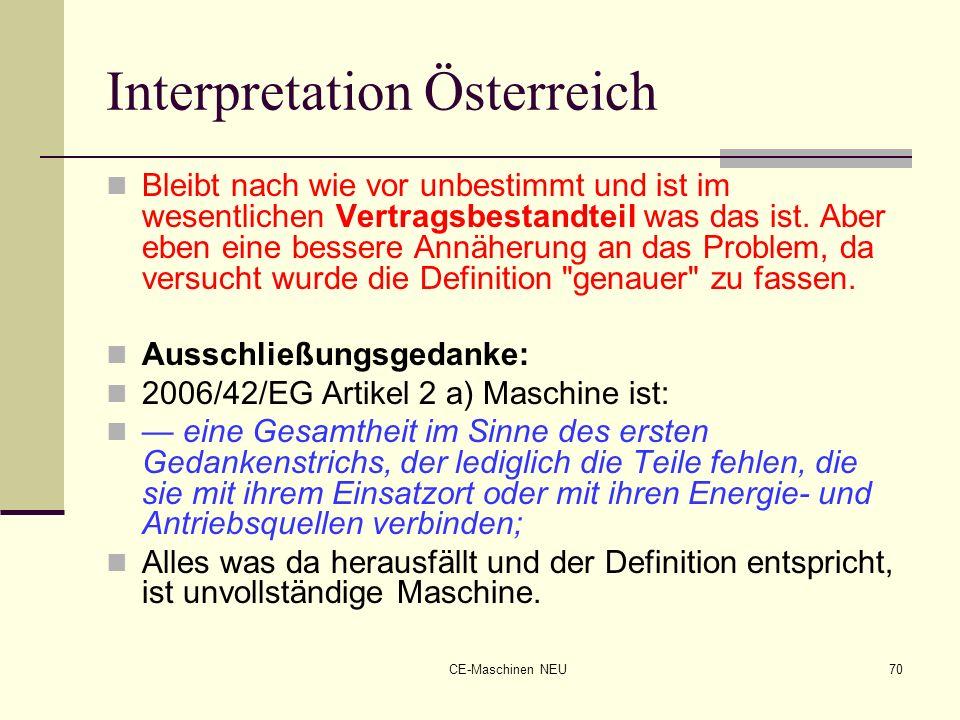 CE-Maschinen NEU70 Interpretation Österreich Bleibt nach wie vor unbestimmt und ist im wesentlichen Vertragsbestandteil was das ist. Aber eben eine be