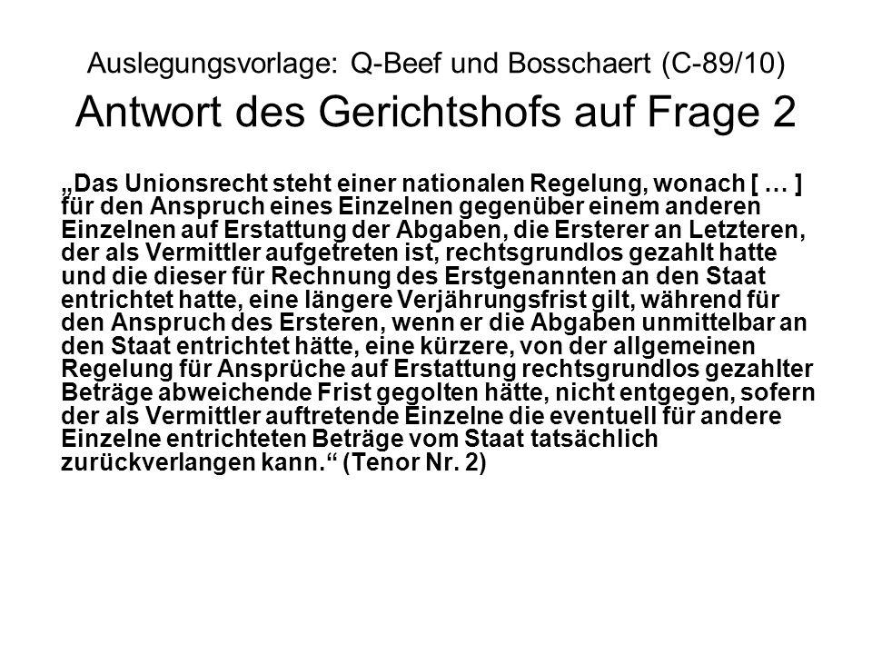 Auslegungsvorlage: Q-Beef und Bosschaert (C-89/10) Antwort des Gerichtshofs auf Frage 2 Das Unionsrecht steht einer nationalen Regelung, wonach [ … ]
