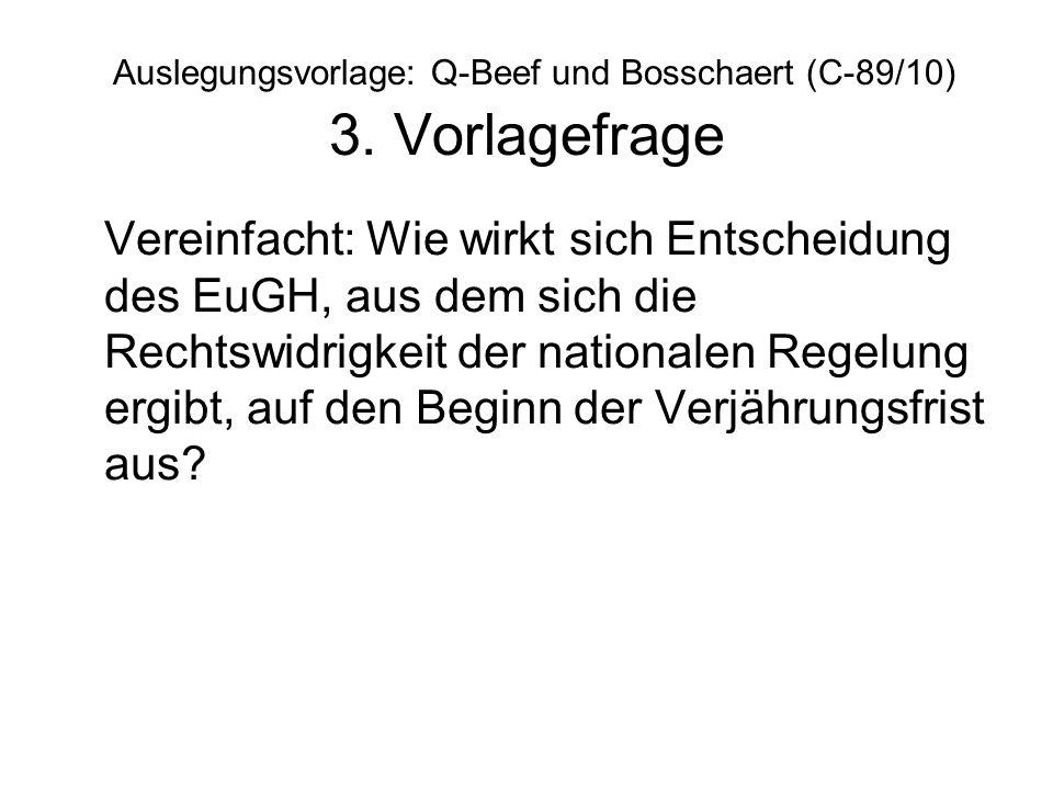 Auslegungsvorlage: Q-Beef und Bosschaert (C-89/10) 3. Vorlagefrage Vereinfacht: Wie wirkt sich Entscheidung des EuGH, aus dem sich die Rechtswidrigkei