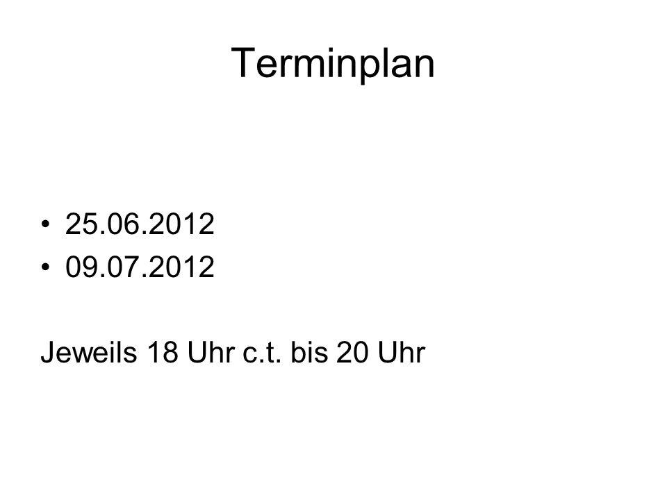 Terminplan 25.06.2012 09.07.2012 Jeweils 18 Uhr c.t. bis 20 Uhr