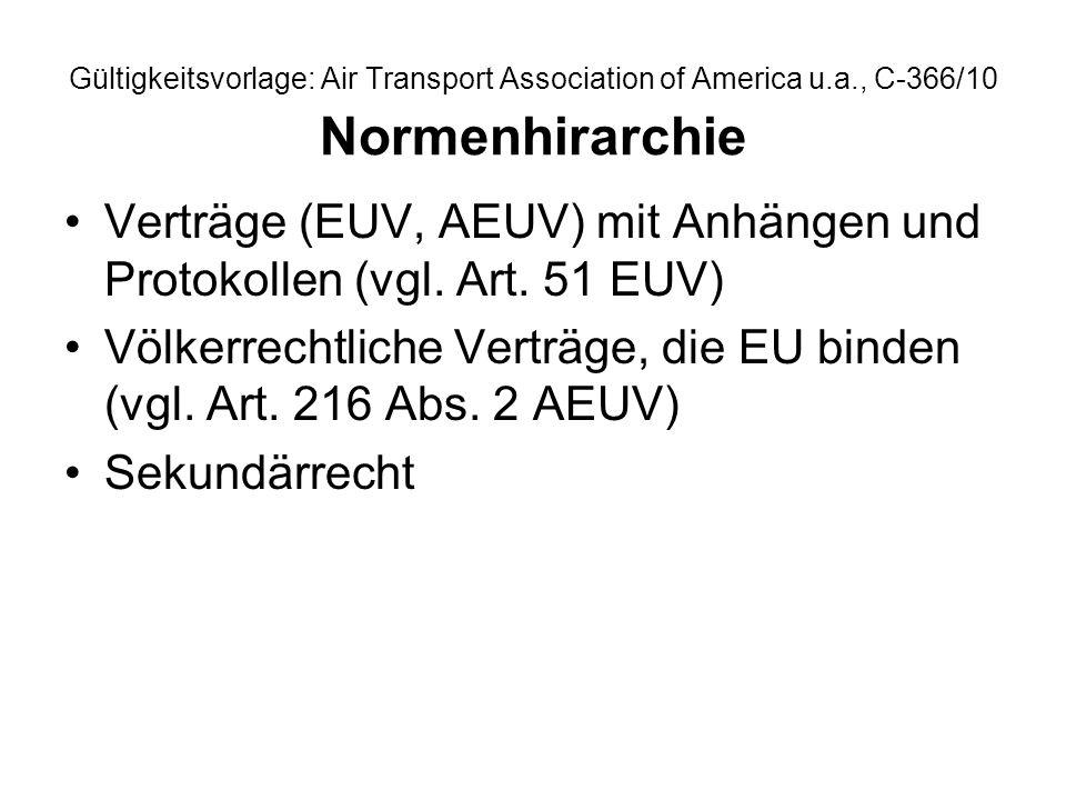 Gültigkeitsvorlage: Air Transport Association of America u.a., C-366/10 Normenhirarchie Verträge (EUV, AEUV) mit Anhängen und Protokollen (vgl. Art. 5