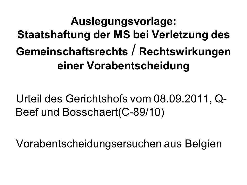 Auslegungsvorlage: Staatshaftung der MS bei Verletzung des Gemeinschaftsrechts / Rechtswirkungen einer Vorabentscheidung Urteil des Gerichtshofs vom 0