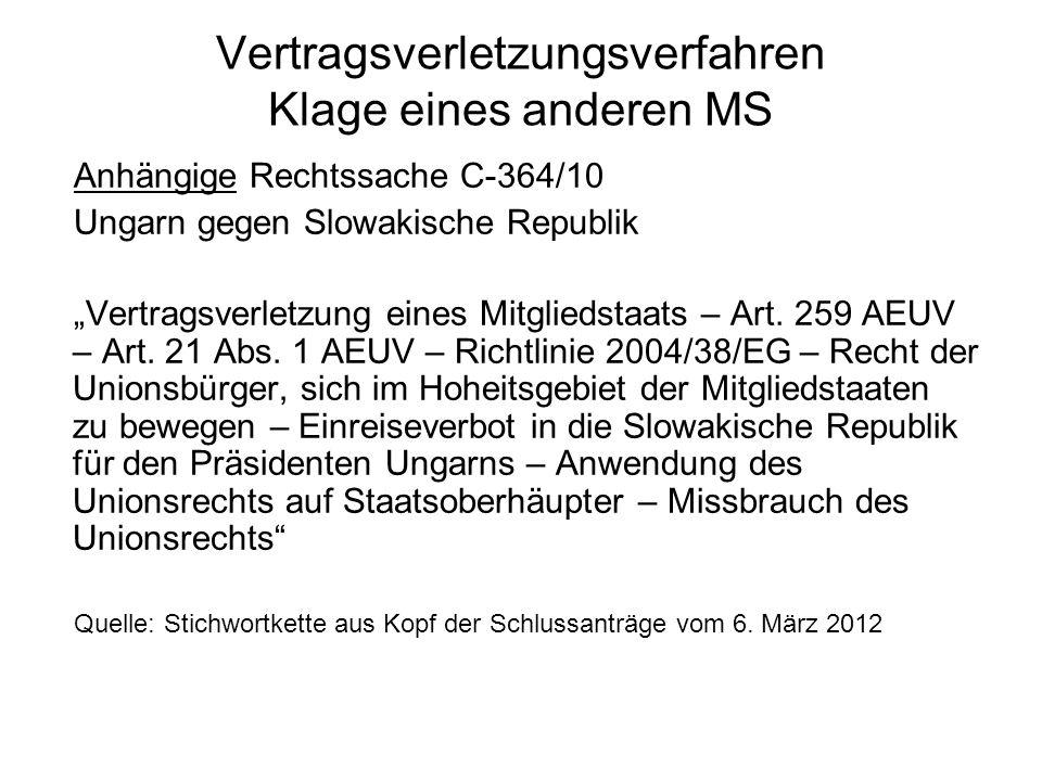 Vertragsverletzungsverfahren Klage eines anderen MS Anhängige Rechtssache C-364/10 Ungarn gegen Slowakische Republik Vertragsverletzung eines Mitglied