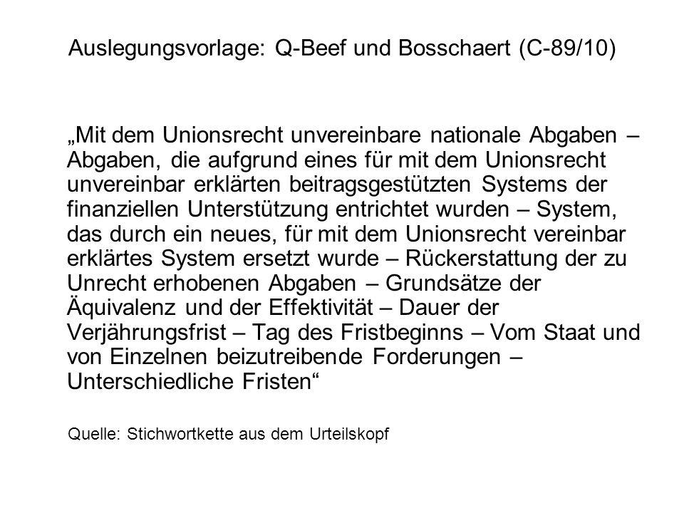 Auslegungsvorlage: Q-Beef und Bosschaert (C-89/10) Mit dem Unionsrecht unvereinbare nationale Abgaben – Abgaben, die aufgrund eines für mit dem Unions