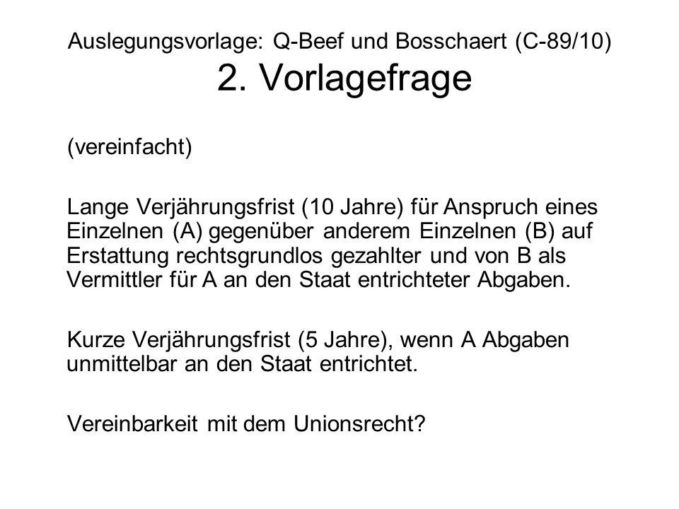 Auslegungsvorlage: Q-Beef und Bosschaert (C-89/10) 2. Vorlagefrage (vereinfacht) Lange Verjährungsfrist (10 Jahre) für Anspruch eines Einzelnen (A) ge