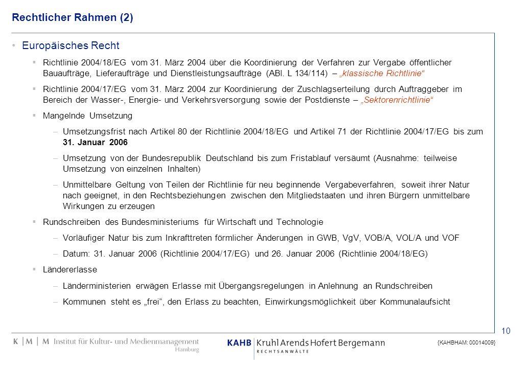 10 {KAHBHAM: 00014009} Rechtlicher Rahmen (2) Europäisches Recht Richtlinie 2004/18/EG vom 31. März 2004 über die Koordinierung der Verfahren zur Verg