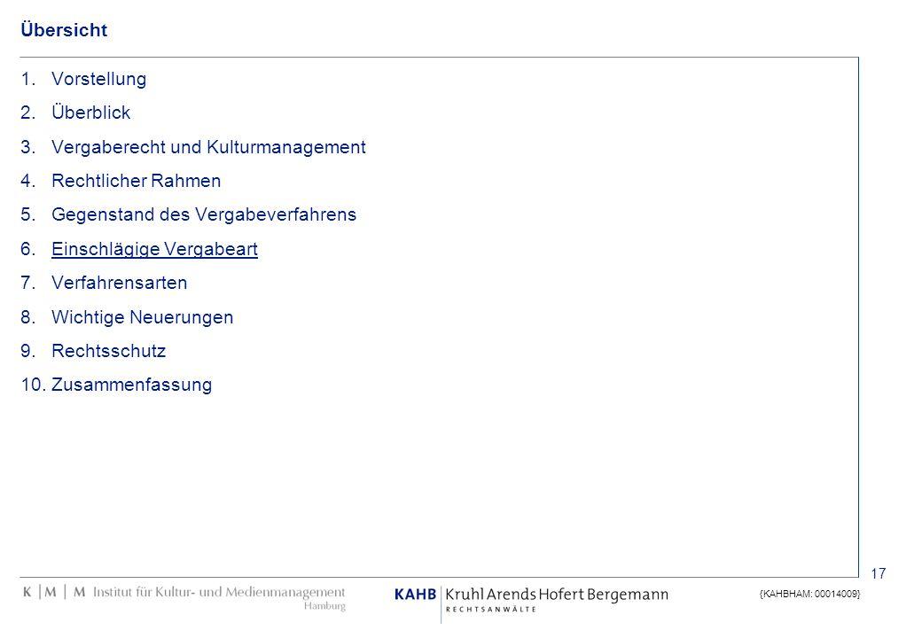 17 {KAHBHAM: 00014009} Übersicht 1.Vorstellung 2.Überblick 3.Vergaberecht und Kulturmanagement 4.Rechtlicher Rahmen 5.Gegenstand des Vergabeverfahrens