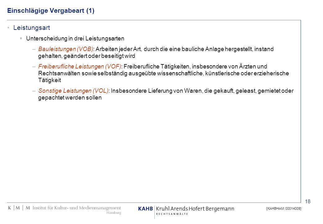 18 {KAHBHAM: 00014009} Einschlägige Vergabeart (1) Leistungsart Unterscheidung in drei Leistungsarten –Bauleistungen (VOB): Arbeiten jeder Art, durch