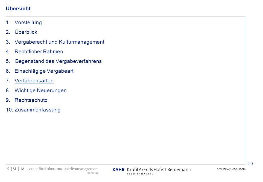 20 {KAHBHAM: 00014009} Übersicht 1.Vorstellung 2.Überblick 3.Vergaberecht und Kulturmanagement 4.Rechtlicher Rahmen 5.Gegenstand des Vergabeverfahrens
