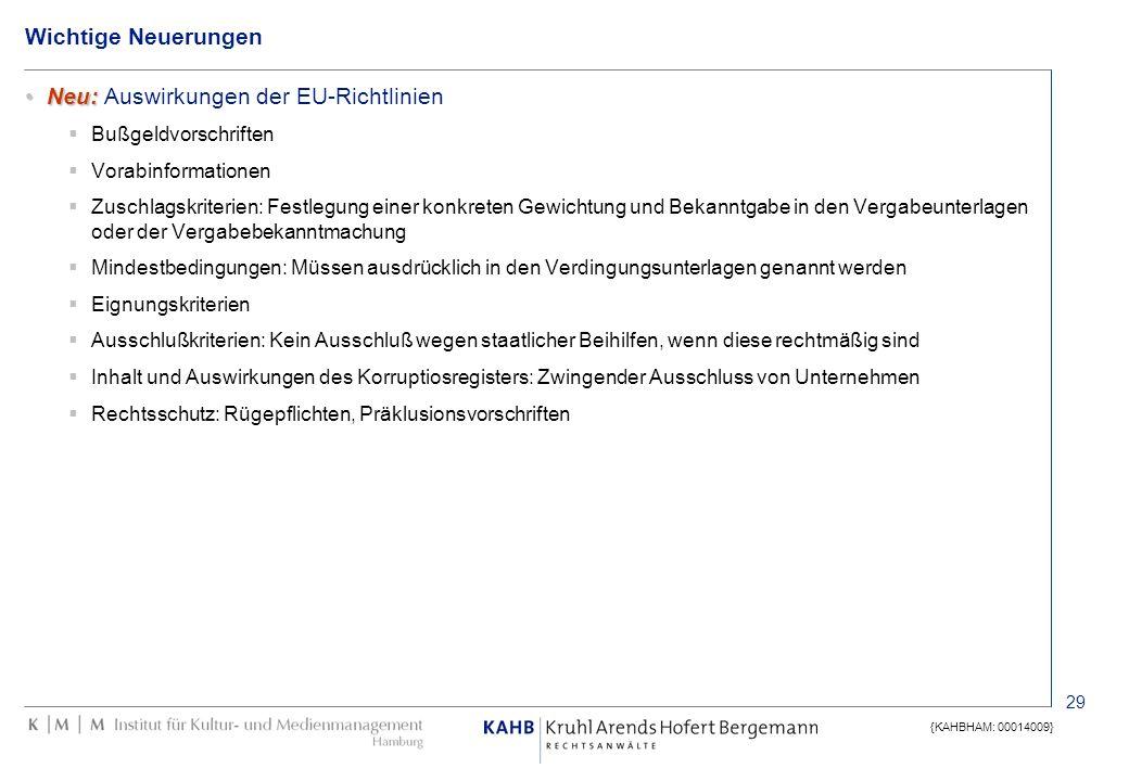 29 {KAHBHAM: 00014009} Wichtige Neuerungen Neu:Neu: Auswirkungen der EU-Richtlinien Bußgeldvorschriften Vorabinformationen Zuschlagskriterien: Festleg