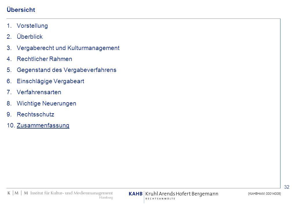 32 {KAHBHAM: 00014009} Übersicht 1.Vorstellung 2.Überblick 3.Vergaberecht und Kulturmanagement 4.Rechtlicher Rahmen 5.Gegenstand des Vergabeverfahrens