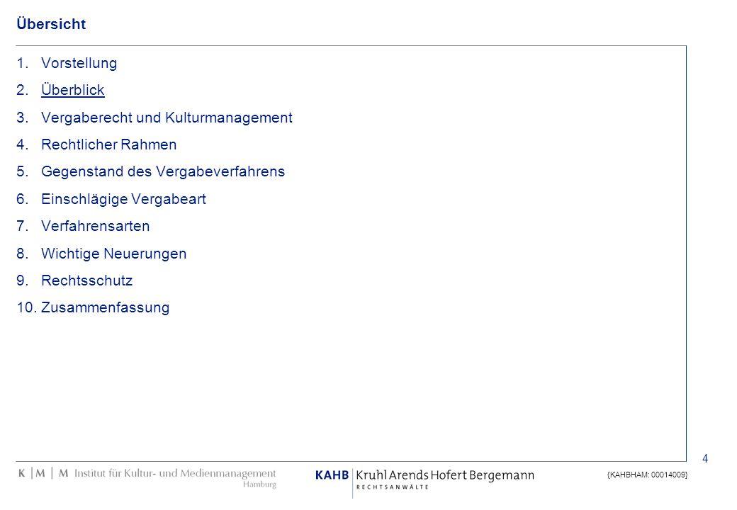 4 {KAHBHAM: 00014009} Übersicht 1.Vorstellung 2.Überblick 3.Vergaberecht und Kulturmanagement 4.Rechtlicher Rahmen 5.Gegenstand des Vergabeverfahrens
