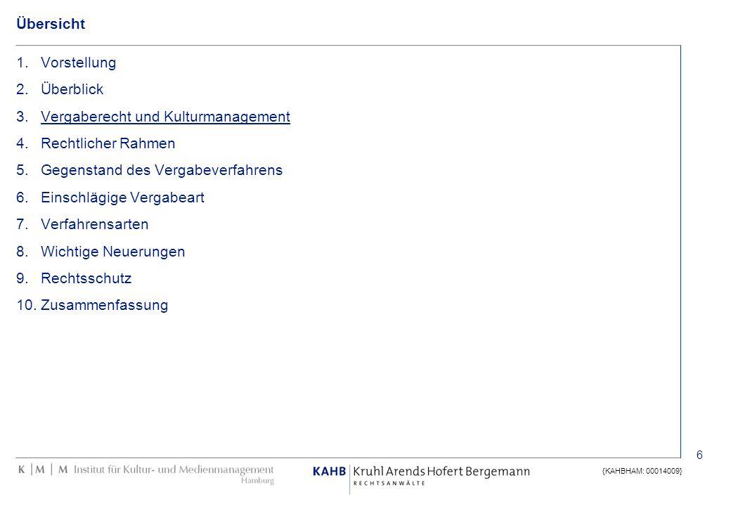 6 {KAHBHAM: 00014009} Übersicht 1.Vorstellung 2.Überblick 3.Vergaberecht und Kulturmanagement 4.Rechtlicher Rahmen 5.Gegenstand des Vergabeverfahrens