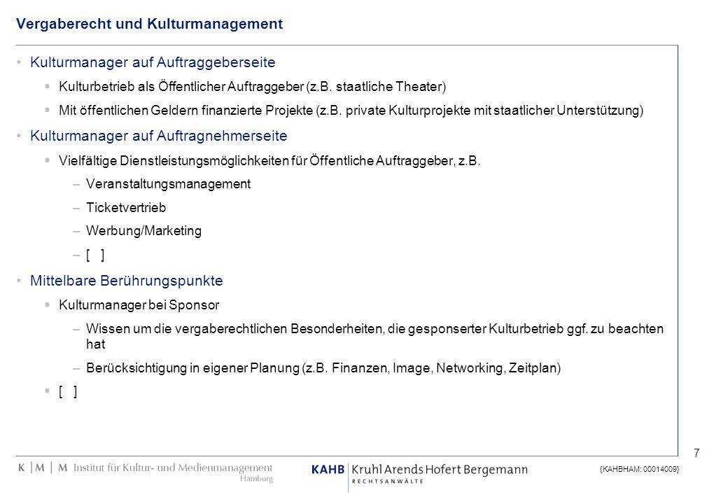 7 {KAHBHAM: 00014009} Vergaberecht und Kulturmanagement Kulturmanager auf Auftraggeberseite Kulturbetrieb als Öffentlicher Auftraggeber (z.B. staatlic