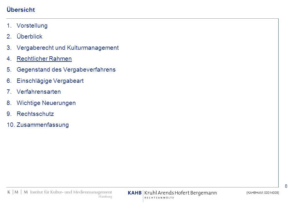 8 {KAHBHAM: 00014009} Übersicht 1.Vorstellung 2.Überblick 3.Vergaberecht und Kulturmanagement 4.Rechtlicher Rahmen 5.Gegenstand des Vergabeverfahrens