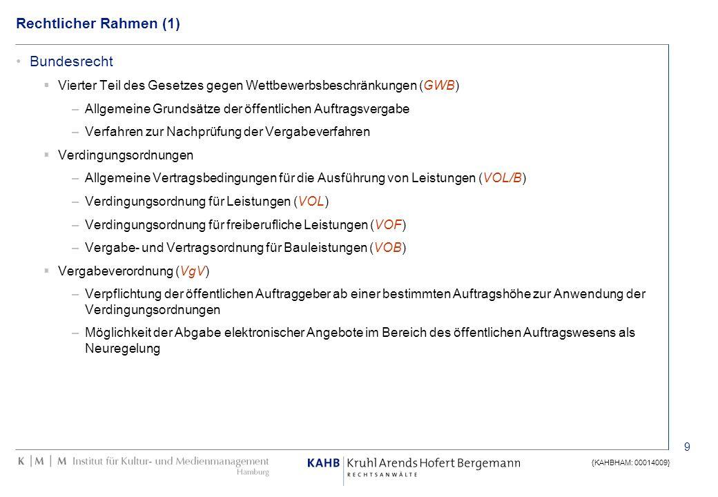 10 {KAHBHAM: 00014009} Rechtlicher Rahmen (2) Europäisches Recht Richtlinie 2004/18/EG vom 31.