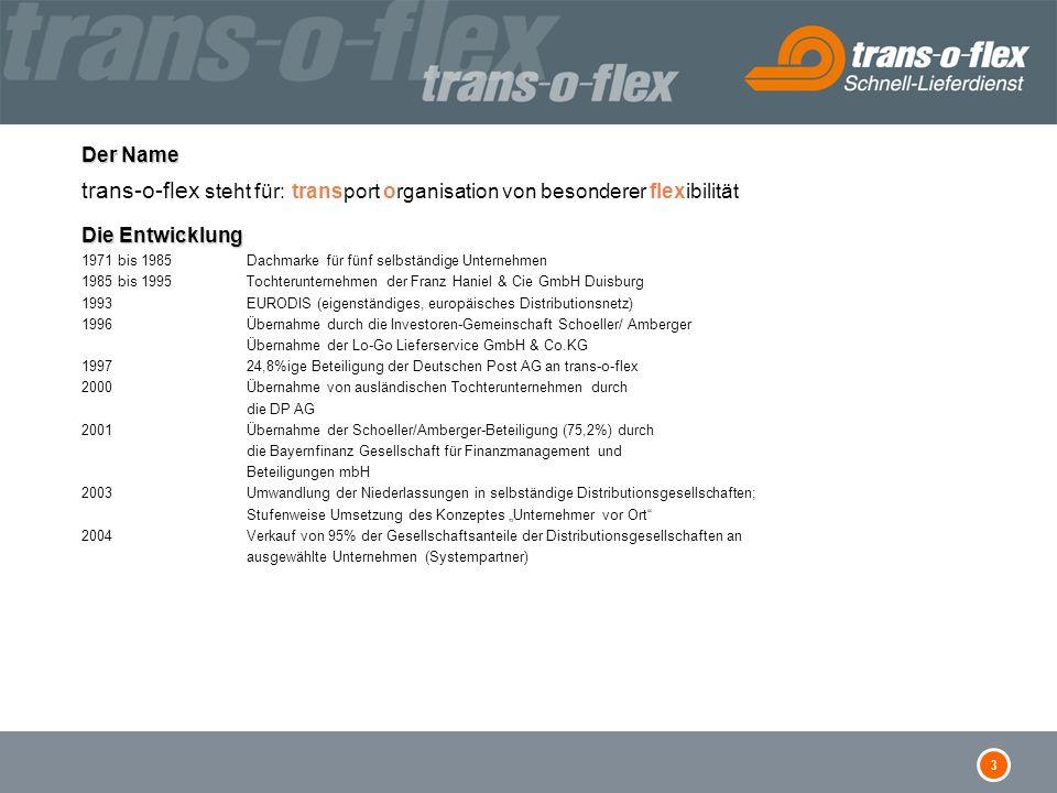 3 Der Name Die Entwicklung Der Name trans-o-flex steht für: transport organisation von besonderer flexibilität Die Entwicklung 1971 bis 1985 Dachmarke