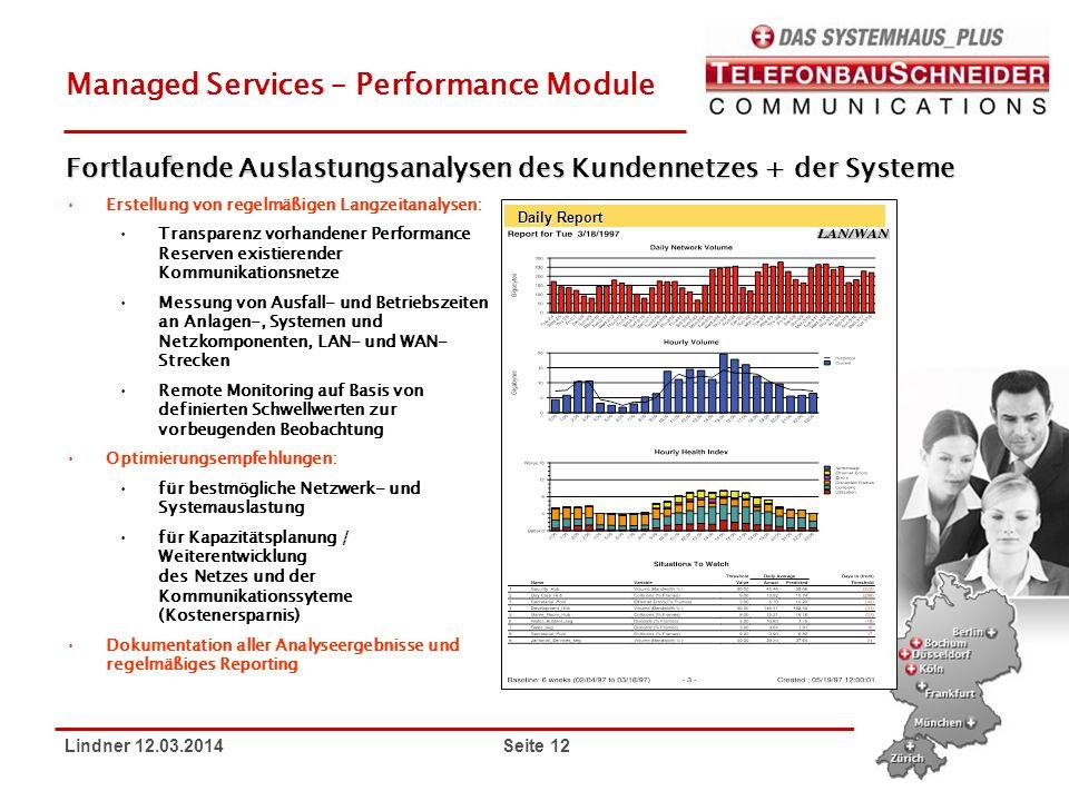 Lindner 12.03.2014 Seite 12 Managed Services – Performance Module Erstellung von regelmäßigen Langzeitanalysen: Transparenz vorhandener Performance Re