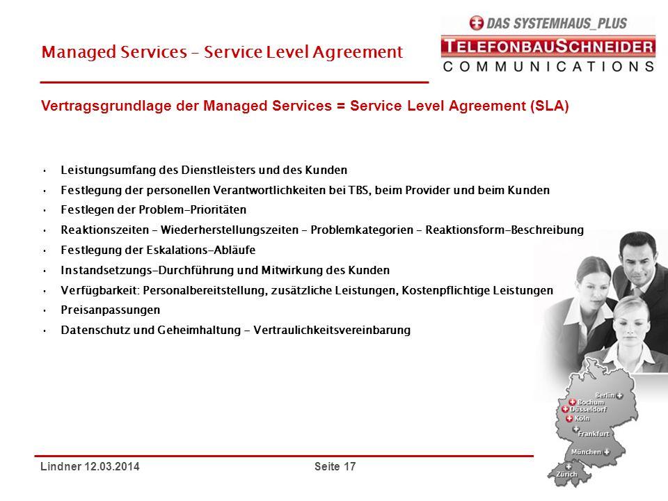 Lindner 12.03.2014 Seite 17 Managed Services – Service Level Agreement Leistungsumfang des Dienstleisters und des Kunden Festlegung der personellen Ve