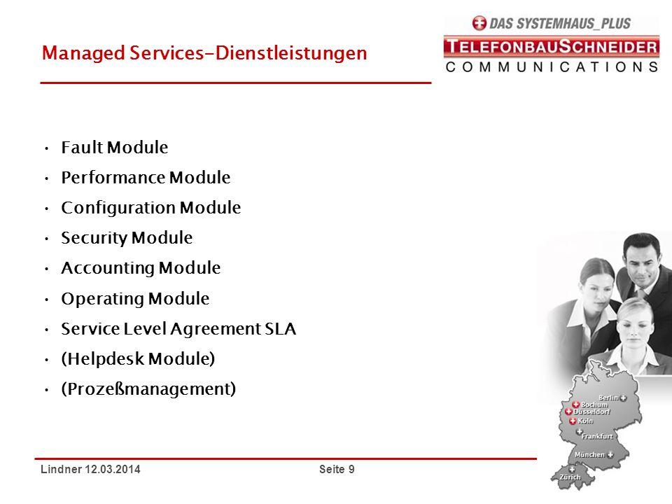 Lindner 12.03.2014 Seite 9 Managed Services-Dienstleistungen Fault Module Performance Module Configuration Module Security Module Accounting Module Op