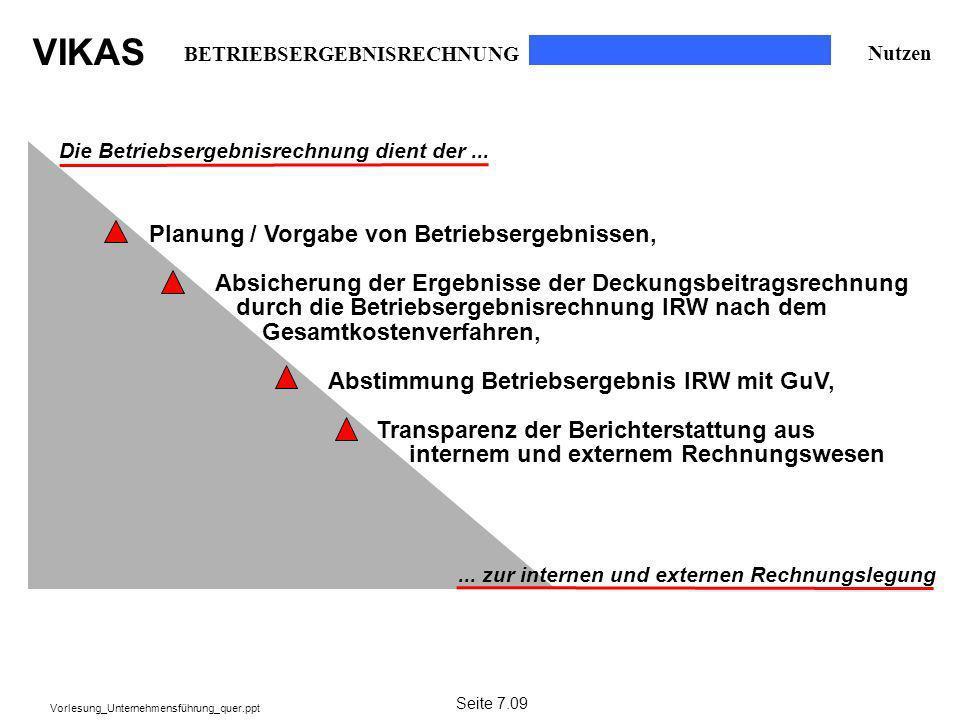 VIKAS Vorlesung_Unternehmensführung_quer.ppt Die Betriebsergebnisrechnung dient der...... zur internen und externen Rechnungslegung Planung / Vorgabe