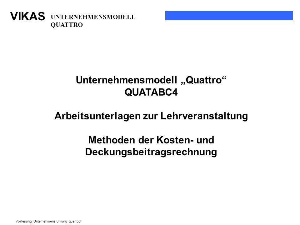 VIKAS Vorlesung_Unternehmensführung_quer.ppt UNTERNEHMENSMODELL QUATTRO Unternehmensmodell Quattro QUATABC4 Arbeitsunterlagen zur Lehrveranstaltung Me