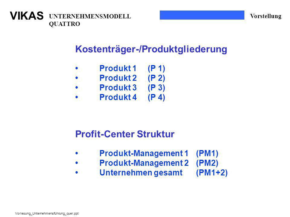 VIKAS Vorlesung_Unternehmensführung_quer.ppt Kostenträger-/Produktgliederung Produkt 1(P 1) Produkt 2(P 2) Produkt 3(P 3) Produkt 4(P 4) Profit-Center