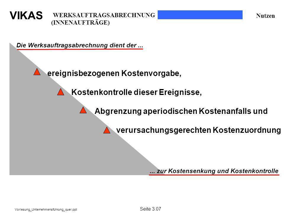 VIKAS Vorlesung_Unternehmensführung_quer.ppt Nutzen Die Werksauftragsabrechnung dient der...... zur Kostensenkung und Kostenkontrolle ereignisbezogene