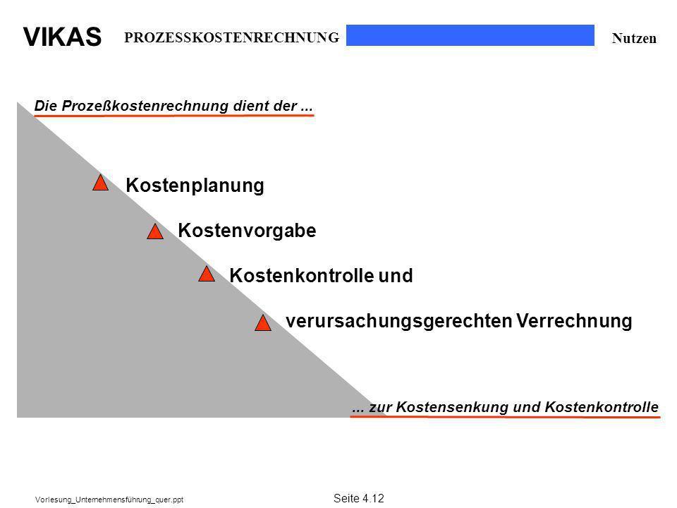 VIKAS Vorlesung_Unternehmensführung_quer.ppt Die Prozeßkostenrechnung dient der...... zur Kostensenkung und Kostenkontrolle Kostenplanung Kostenvorgab