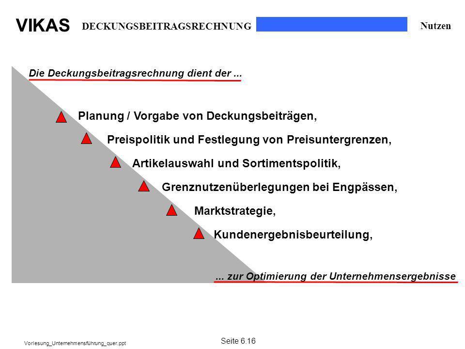 VIKAS Vorlesung_Unternehmensführung_quer.ppt DECKUNGSBEITRAGSRECHNUNG Die Deckungsbeitragsrechnung dient der...... zur Optimierung der Unternehmenserg