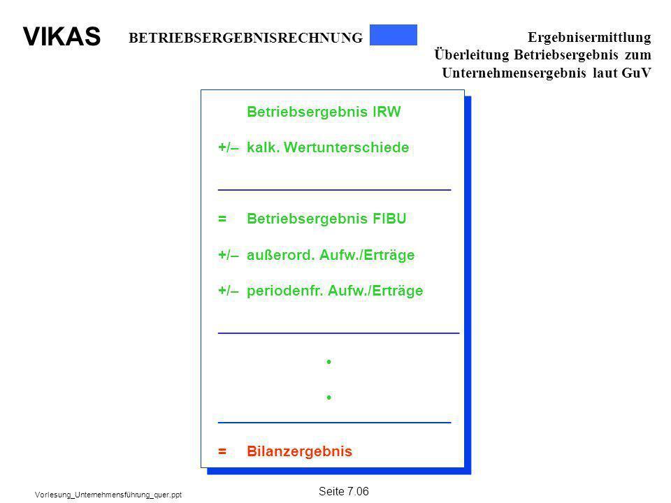 VIKAS Vorlesung_Unternehmensführung_quer.ppt Betriebsergebnis IRW +/–kalk. Wertunterschiede ____________________________ =Betriebsergebnis FIBU +/–auß