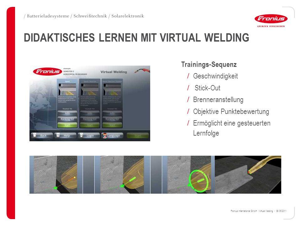 Fronius International GmbH / Virtual Welding / 09.06.2011 DIDAKTISCHES LERNEN MIT VIRTUAL WELDING Trainings-Sequenz / Geschwindigkeit / Stick-Out / Br