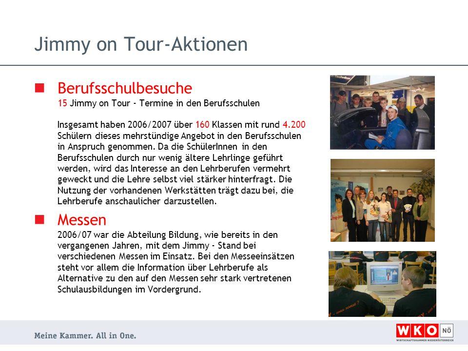 Jimmy on Tour-Aktionen Berufsschulbesuche 15 Jimmy on Tour - Termine in den Berufsschulen Insgesamt haben 2006/2007 über 160 Klassen mit rund 4.200 Sc