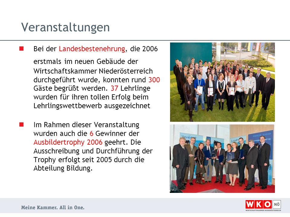 Veranstaltungen Bei der Landesbestenehrung, die 2006 erstmals im neuen Gebäude der Wirtschaftskammer Niederösterreich durchgeführt wurde, konnten rund