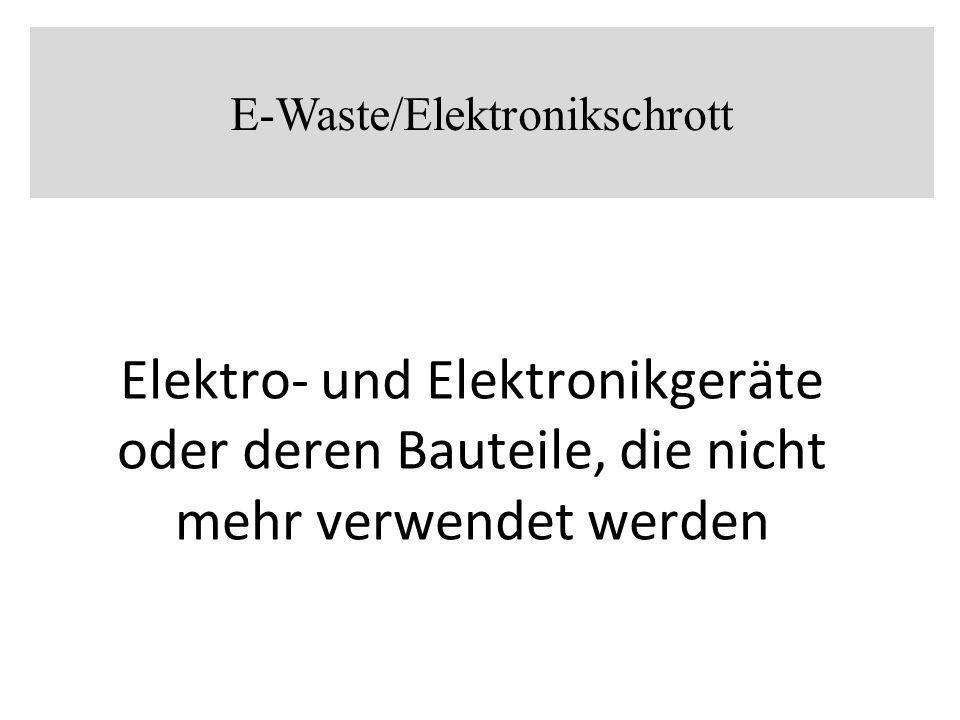 Elektronikschrott enthält eine Vielzahl von Schwermetalle wie Blei, Arsen, Kadmium und Quecksilber, Halogenverbindungen wie polybromierte Biphenyle, PVC, chlorierte, bromierte und gemischt halogenierte Dioxine