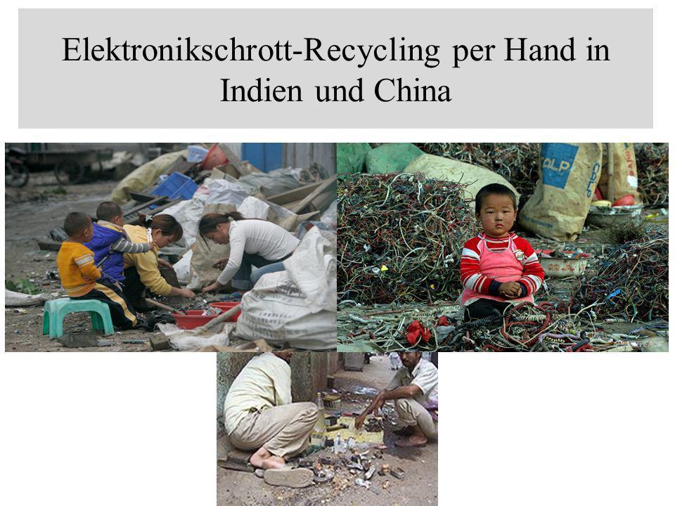 industrialisierte Länderindustrialisierte Länder exportieren 50 bis 80 % ihren Elektronikschrott in Schwellen- und Entwicklungsländer.Schwellen Entwicklungsländer