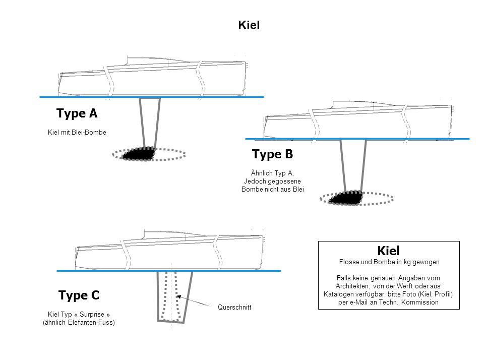 Kiel Type A Kiel mit Blei-Bombe Type C Kiel Typ « Surprise » (ähnlich Elefanten-Fuss) Kiel Flosse und Bombe in kg gewogen Falls keine genauen Angaben