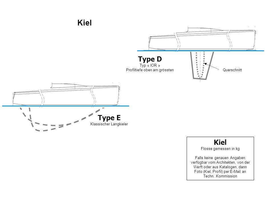 Kiel Type E Klassischer Langkieler Type D Typ « IOR » Profiltiefe oben am grössten Querschnitt Kiel Flosse gemessen in kg Falls keine genauen Angaben